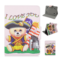 Cute Bear Universal Leather Flip Tablet Cover Case For iPad Mini Tablet PC