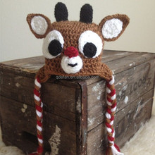 2015 Christmas baby hat knitted baby winter hat crochet reindeer hat