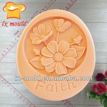 oval Faith flower silicone soap mold