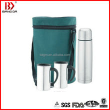 stainless steel promotion vacuum bottle gift set with 2 piece coffee cups