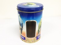 round pet food tin can with clear PVC window on the body