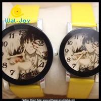 WJ-5066 carton image fashion pu leather wholesale colorful bands pair wrist watch for sale