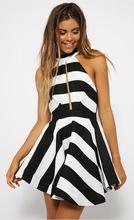 C87527A new summer women striped dress factory wholesale halter dress