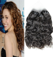 Top grade indian naturally curly weave hair natural wave