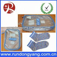 Sock pvc zipper bag customer printting