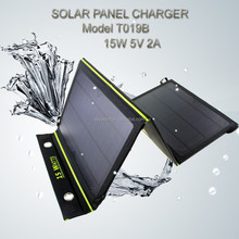New 2015 Portable Solar Charger + 15W Fodable Solar Panel + Double USB output + Waterproof solar rechargeable folding bag