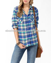 CHEFON Women Blue Big Plaid Flannel Shirt CB0102