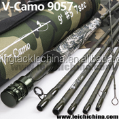 Wholesale top quality 9ft 5 weight 7pc Korean carbon camouflage travel fly rod