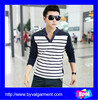 Wholesale Mens long sleeve black white striped t-shirts yarn dyed t shirt design