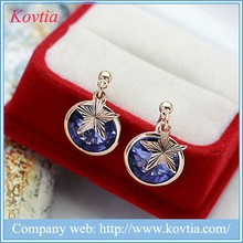 Blue sapphire stud earrings star shaped with round crystal pendant earrings