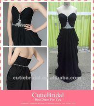 Sheath/Column Sweetheart Floor-length Real Photo Evening Dress Long Black Chiffon Evening Dress