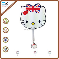 Cat with knot tie cartoon handle held fan ready stock for wholesale