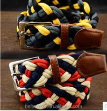 women jeans fabric braided stretch belt adjustable sport mixed colors braided fashion belts
