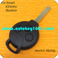MS car key 3 button remote key 433mhz with electric ID 46 chip for mercedes benz smart with uncut key balde best quality