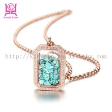 fashion rectangle shaped gold floating locket pendant necklace