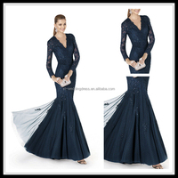 V-neck Long Sleeve navy blue lace mother of the bride jacket evening dress FXL-293