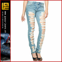 Destroyed light wash skinnies plus size women leggings cotton ripped jeans high waisted distressed skinny jeans (GYX0620)