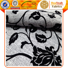 Flocked linen look flocking material floral upholstery sofa fabric