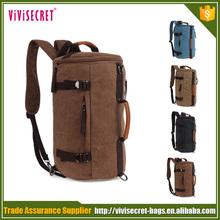 Unisex Fashion Vintage Casual Cylinder Canvas Backpack Shoulder Bag