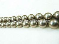 Professional custom and wholesale 6mm south sea khaki shell pearl beads loose strands