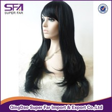 With bangs fiber lace front wig, natural color hair wig