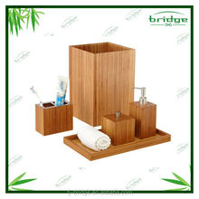 2015 simply bamboo bathroom accessories set with 5 pcs