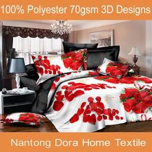 China 3d printed 100% brushed polyester fabric sheet set indian