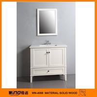 Marble wash basin white antique wood bathroom vanity
