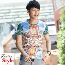 2014 venta al por mayor de moda para hombre ropa promocional personalizado 3d dos tono camiseta