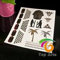 Metallic flash retail hot fashion adhesive henna sticker tattoo stencils