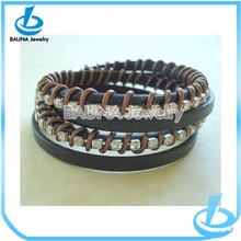 2015 high quality clear rhinestone braided bracelet jewelry