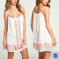 custom hand embroidery designs for dress coral cutwork embroidery dress with tassel