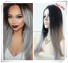 Ombre Lace Wig Brazilian Silky Straight Ombre Full Lace Human Hair Wigs/Lace Front Wigs Two Tone Human Hair Black/Grey Wigs