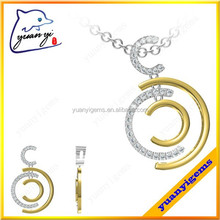 plated gold stone chain necklace big pendant design round pendant necklace for women and unisex