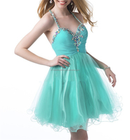Sexy V-Neck Beading Suspenders Above knee Mini Tulle 2014 mint green prom dress FXL-800