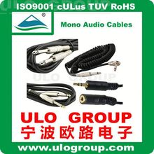 Wholesales new audio cable 6.35mm mono plug to plug