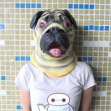 Trade Assurance Deluxe Pug Mask Dog Lover Pooch Halloween Costume Latex Adult Gag Gift Novelty