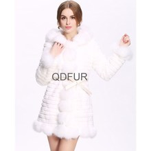 QD80181 Lady Winter Long Genuine Natural Shearing Rabbit Fur with Fox Fur Trimming Coat