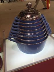 2015 10Pcs porcelain enamel cookware setsum swiss cookware with high temperature paint outside