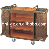 Guangzhou hotel supplies customized steel wood hotel housekeeping trolley janitor trolleys janitor cart housekeeping carts F23