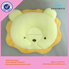 Good quality plush lion and tiger shape baby flat head pillow