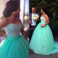 Ball Gowns 2015 Mint Green Quinceanera Dresses Sequins Beaded Sweetheart Bodice Corset Sparkly Mint Prom Dress 2015 FMG01