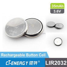 LIR rechargeable batteries lir2032 3.6V button cell battery lir 2032 lir2032 for car key