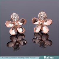 High end crystal 4 leaf clover stud earring with champagne crystal factory oem