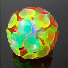 colorful led flash chucking ball,suction ball kid play