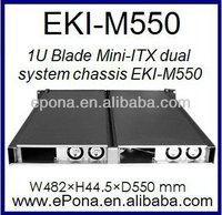1U Blade Mini-ITX dual system Server case, Rackmount Chassis, industrial PC case EKI-M550