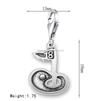 Latest Design Antique Silver Lobster Clasp Golf Putting Green With 18th Hole Flag Charms