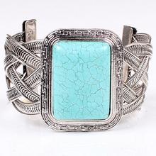 Promotional latest design new trends vintage stylish braided steel big turquoise bangles, cheap wholesale turquoise bracelet