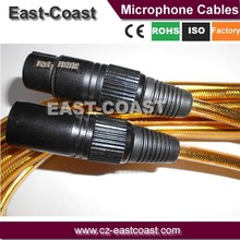Gold Color 3PINS XLR TO XLR Microphone Cable