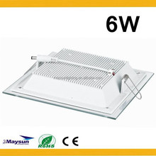 Recessed Ceiling Panel Light 6w glass square led panel light with ce rohs